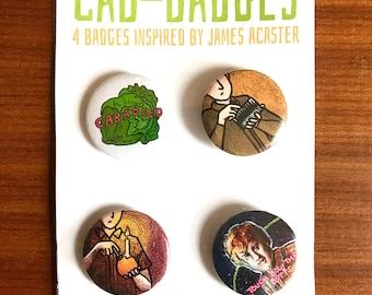 Cab-badges: 4 badges inspired by James Acaster