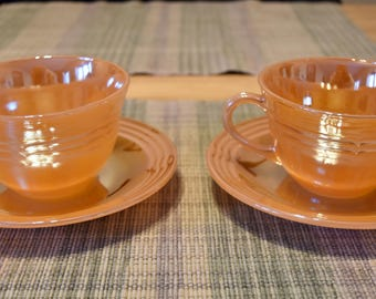 2 Fire King Cups and 2 Saucers Peach Lustre