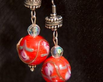 Magdalene: Unique, Orange, Handpainted Earrings