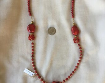 Red coral with coral beads and pewter necklace