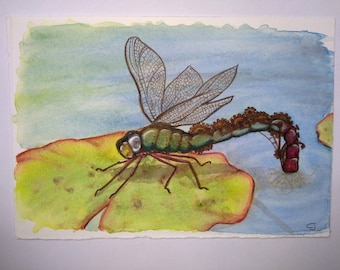 Watercolor: Dragonfly steampunk a water lily