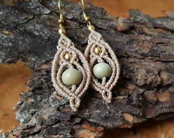 Macrame/macramé earrings Acai brass