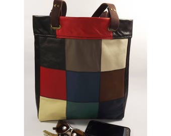 Real Leather Patchwork Tote Bag