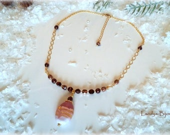 Indian glass bead pendant necklace glass beads and chains golden-chocolate colored beads - pink and white candy effect