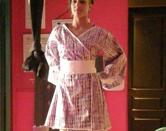 "Dress / purple ""bazin"" kimono tunic"