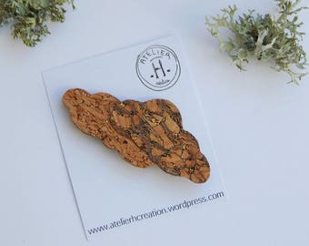 """Brooch made of Cork """"clouds"""""""