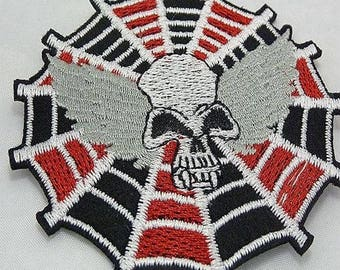 applique motif patch skull Spider Web skull embroidery, sewing fusible