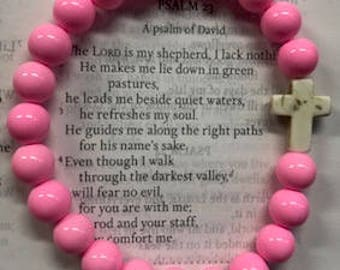 Bubble Gum Pink Cross Beaded Bracelet