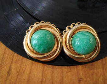 VINTAGE EARRINGS gold and stone color GTIFFANY, turquoise years ' 70