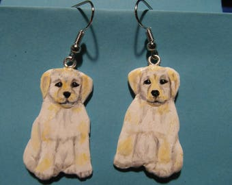 """""""Labrador puppies"""" earrings made of cold porcelain"""
