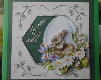 3D card on cut embroidered Easter Bunny