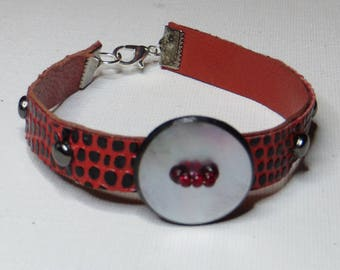 Pearl Leather Bracelet red - #253