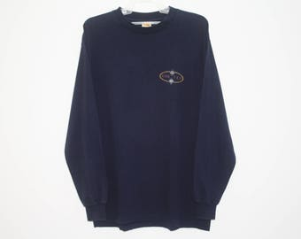 Vintage 90s Hang Ten Surf Skate Beach Dark Blue Cotton Pullover Sweater Made in USA Size L