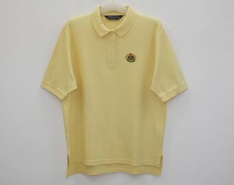 Vintage Burberrys Yellow Cotton Polo Shirt Made in USA Size L
