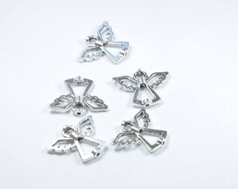 PE141 - Set of 5 angels in silver metal beads