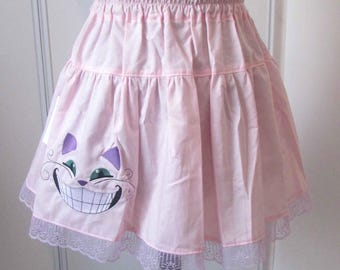 The Cheshire Cat embroidered skirt pink 01