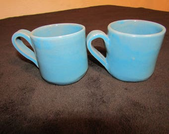 Duo terracotta turquoise blue coffee cup.