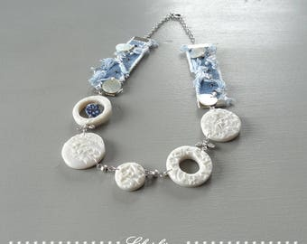 Original necklace of denim and pearls