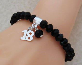 18th Birthday Bracelet, 18th Birthday Gift, Birthday Jewelry, 18 Birthday Jewelry, 18th Birthday Crystal Stretch Bead Bracelet, Gift for Her