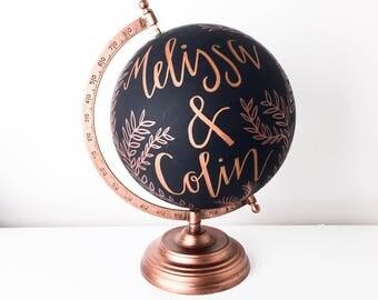 Custom Globe | Personalised Wedding Globe | Anniversary Gift | Guestbook Globe | Hand-lettered Globe | Wedding Guestbook