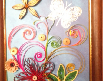 canvas cotton, flowers and arabesque rigige quilling Butterfly wall hanging, quilling creation, inner child, living room, office, entry,