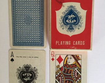 Victoria Playing cards, blue patterned back no. 54, boxed deck.