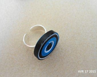 Blue and black quilling cylindrical ring