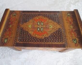 Vintage wooden jewelry box, Handmade pyrography, Retro wooden box, Old box, Gift idea, Тreasure box, Handmade wooden box, Colourful box, Box