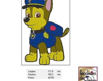 Embroidery file format: CHASE the pat' patrol (Paw patrol)