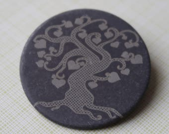 Slate 'Tree of Love' Brooch