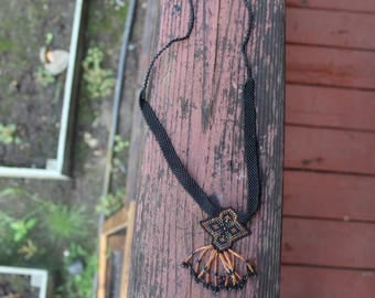 Long Bead Weaving Necklace