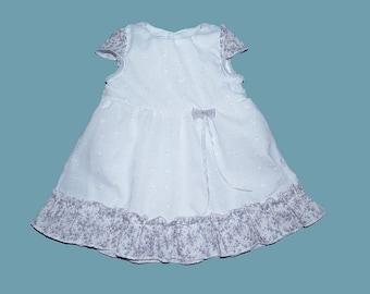 Christening gown in broderie anglaise and cotton liberty