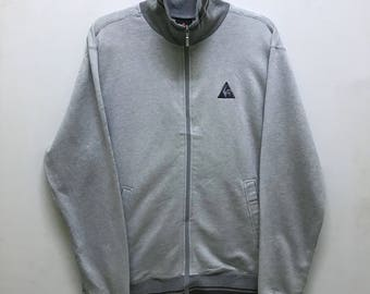 Rare!!! Le Coq Sportif Sweater Small Logo Embroidered Zipper Double Pockets Stripes