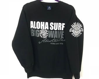 Rare!!! Aloha Surf Sweatshirt Pullover Spellout Big Picture Double Side Print Big Wave Australia
