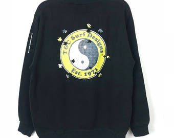 Rare!!! T&C Surf Design Hawaii Sweatshirt Pullover Spellout Big Logo Multicolors Jumper