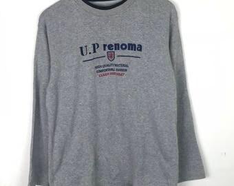 Rare!!! Renoma Sweatshirt Pullover Spellout Small Logo Multicolors Chemise De Nuit