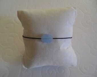Bracelet on cord and bead blue mist