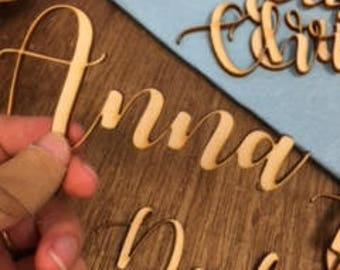 Laser-cut Names for Place Cards or Favors