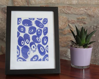 A5 linocut decoration - oval pattern - blue