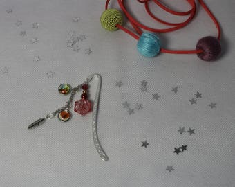 Jewel red feather in silver metal bookmark