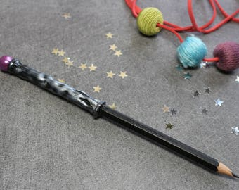 Pencil - black magic wand with Pearl Pink