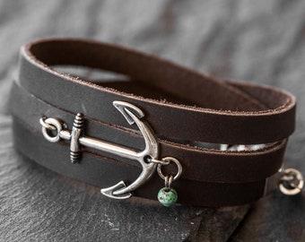 Men's Leather Bracelet - Men's Anchor Bracelet - Men's Nautical Bracelet - Men's Bracelet - Men's Jewelry - Men Gift - Husband Gift - Sailor