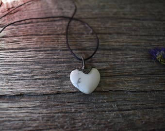 White Howlite Heart Shaped Copper Necklace