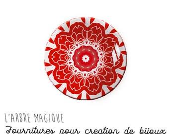 2 Cabochons to glue glass 18 mm red 861 Mantra mandala