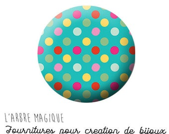 Cabochon fancy 25 mm pea mutlicouleur 1409 ref turquoise background
