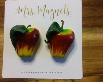 Apple Magnets Set of 2 - kitchen refrigerator magnets, office magnets, teacher gift, hostess gift