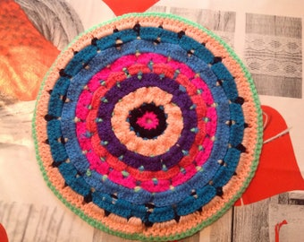 Mandala in wool, multicolor, hanging or as decorative doily crochet and made entirely by hand