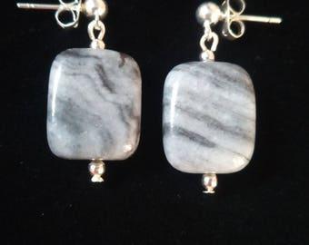 Black and Grey Agate Earrings