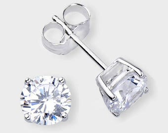 14K Solid White Gold Round CZ Stud Earrings Basket Setting sizes 2-10mm