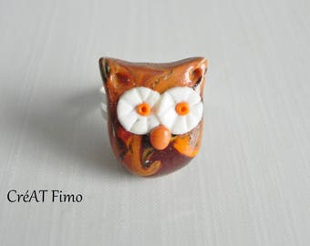 OWL ring polymer clay